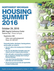 Northwest Michigan Housing Summit 2016 @ NMC Hagerty Conference Center | Traverse City | Michigan | United States